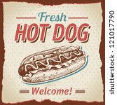 vintage hot dogs background | Shutterstock .eps vector #121017790