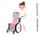 patient in a wheelchair next to ... | Shutterstock . vector #121017970