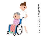 patient in a wheelchair next to ...   Shutterstock . vector #121017970