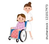 patient in a wheelchair next to ... | Shutterstock . vector #121017973