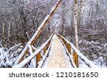 winter forest bridge view.... | Shutterstock . vector #1210181650
