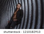 muscular young man with beard... | Shutterstock . vector #1210182913