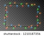 christmas lights border vector  ... | Shutterstock .eps vector #1210187356