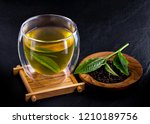 top view of green tea matcha in ... | Shutterstock . vector #1210189756