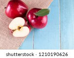 red apples with leaves on the... | Shutterstock . vector #1210190626