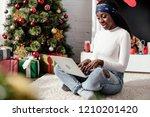 shocked attractive african... | Shutterstock . vector #1210201420