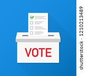 checklist in vote box on blue... | Shutterstock . vector #1210213489
