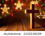 christian wood cross on... | Shutterstock . vector #1210218109