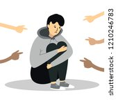 fingers pointing on the sad... | Shutterstock .eps vector #1210246783