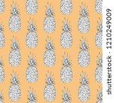 pineapple seamless pattern ... | Shutterstock .eps vector #1210249009