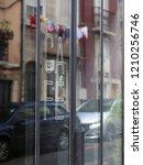outside window a coffee shop in ... | Shutterstock . vector #1210256746