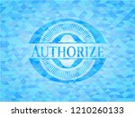 authorize sky blue emblem with... | Shutterstock .eps vector #1210260133