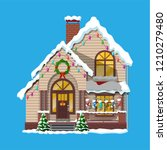 suburban house covered snow.... | Shutterstock .eps vector #1210279480