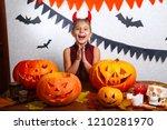 happy halloween. cute funny... | Shutterstock . vector #1210281970