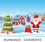 a house in a snowy christmas... | Shutterstock .eps vector #1210282453