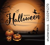 happy halloween background with ... | Shutterstock .eps vector #1210291270