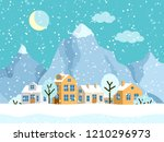 christmas winter landscape with ... | Shutterstock .eps vector #1210296973