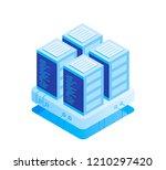 concept of server room. hosting ... | Shutterstock .eps vector #1210297420