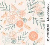 colorful citrus vector seamless ... | Shutterstock .eps vector #1210306030