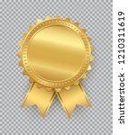golden seal with ribbons... | Shutterstock .eps vector #1210311619