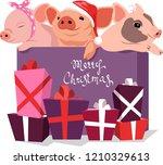 three cute little pigs in a... | Shutterstock .eps vector #1210329613