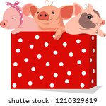three cute little pigs in a... | Shutterstock .eps vector #1210329619