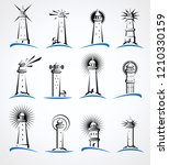 lighthouse set. vector | Shutterstock .eps vector #1210330159
