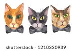 watercolor illustration of cats ... | Shutterstock . vector #1210330939