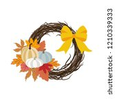 autumn wreath illustration on... | Shutterstock . vector #1210339333