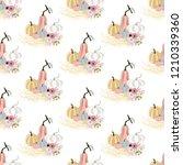 pumpkin seamless pattern on the ... | Shutterstock . vector #1210339360