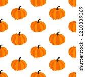 pumpkin seamless pattern on the ... | Shutterstock . vector #1210339369