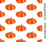 pumpkin seamless pattern on the ... | Shutterstock . vector #1210339390