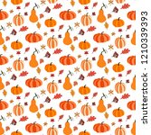 pumpkin seamless pattern on the ... | Shutterstock . vector #1210339393