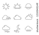 weather forecast linear icons... | Shutterstock .eps vector #1210343149