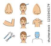 plastic surgery color icons set.... | Shutterstock .eps vector #1210343179