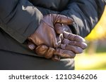 brown men's gloves made of... | Shutterstock . vector #1210346206