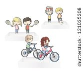 kids playing their hobbies on... | Shutterstock .eps vector #121035208