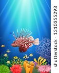 lionfish and coral reefs in the ... | Shutterstock .eps vector #1210355293