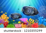 angelfish in the sea surrounded ... | Shutterstock .eps vector #1210355299
