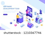 development team at work... | Shutterstock .eps vector #1210367746