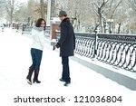 happy young couple walking in... | Shutterstock . vector #121036804