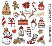 set of christmas and new year... | Shutterstock .eps vector #1210369726