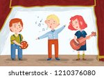 children on the stage sing and... | Shutterstock .eps vector #1210376080