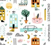 childish seamless pattern with... | Shutterstock .eps vector #1210379260