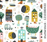 childish seamless pattern with... | Shutterstock .eps vector #1210380433