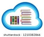 knowledge concept  books in...   Shutterstock .eps vector #1210382866