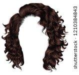 trendy woman curly  long  hair  ... | Shutterstock .eps vector #1210384843