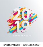 creative happy new year 2019... | Shutterstock . vector #1210385359
