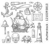 set pirate adventure. anchor ... | Shutterstock .eps vector #1210393813