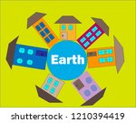 colorfui houses on the globe | Shutterstock .eps vector #1210394419